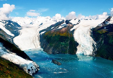 Aerial Shot Of Three Majestic Glaciers Alaska