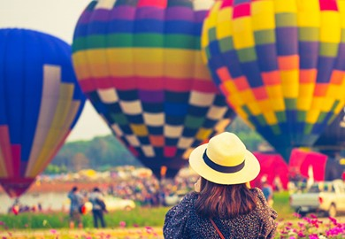 Tourist Is Traveling Into Balloon Festival