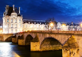 Royal bridge and the louvre in Paris