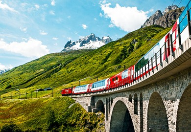 Glacier Express over Stone Bridge