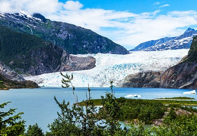 Mendenhall Glacier and Lake in Juneau Alaska