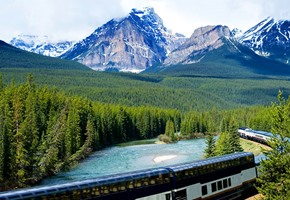Rocky Mountaineer train in Canadian Rockies