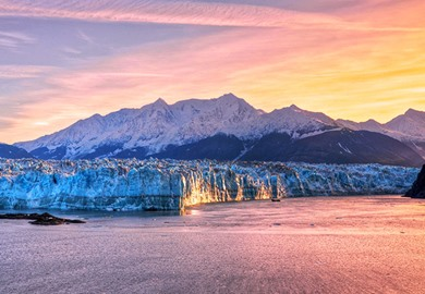 Sunrise at Hubbard Glacier, Alaska