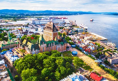 Chateau Frontenac Hotel And Old Port In Quebec City