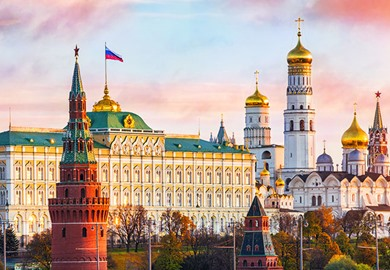 Kremlin Welcomes The Dawn Under The Pink Clouds