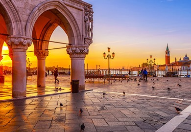 Sunrise at Piazza San Marco Palazzo Ducale in Venice